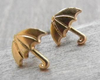 Gold Umbrella Stud Earrings, Small Raw Brass Umbrella Earrings, Simple Umbrella Charm Earrings
