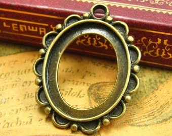 10 pcs Cameo Settings Antique Bronze Cameo Base Pendant Trays 23x19mm CH1300