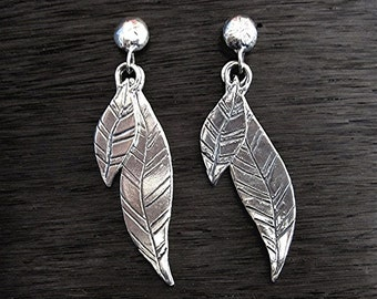 Double Feather Artisan Earrings in Sterling Silver (E43)