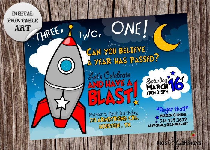 Space rocket cadet theme birthday party by monelizadesigns for Space themed stationery