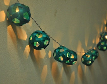 35 Bulbs On-Off Switch Turquoise Rattan ball string lights for