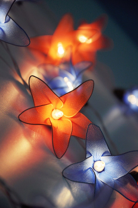 Custom Party String Lights : Orange & Blue flower string lights for PatioWeddingParty and