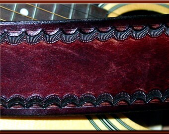 SHELL SCALLOP Design • A Beautifully Hand Tooled, Hand Crafted Leather Guitar Strap