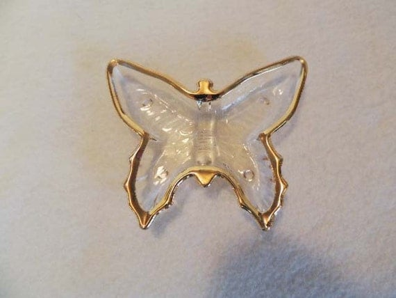 Vintage Glass BUTTERFLY DRESSER DISH.. Heavy Gold Trim