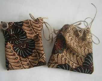 Pair of Vintage Shades of Brown Batik Fabric Lavender Bags