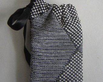 Black And White Vintage Fabric Pouch Harlequin No1