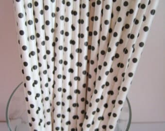 25 Black & White Polka Dot Retro Party Paper Drinking Straws A192