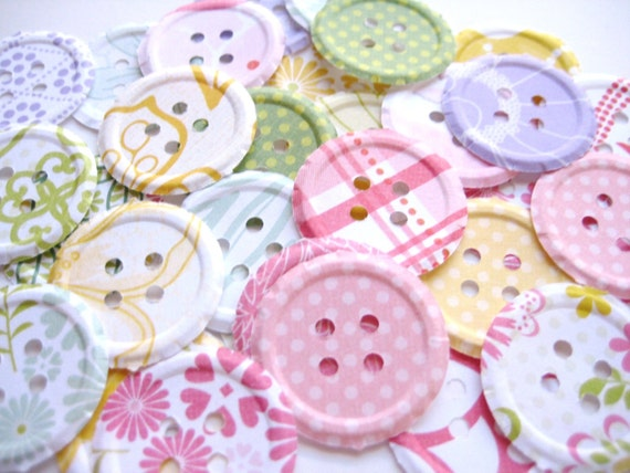 100 Embossed Fresh Floral  Buttons punch die cut scrapbooking embellishments  E1505