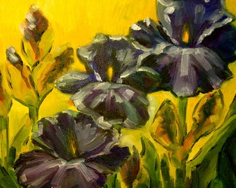 Abstract Painting Landscape - Iris Garden - Original Oil Abstract Flowers - Yellow and Purple Painting