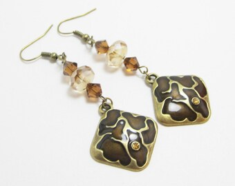 Bronze and Brown Earrings, Tortoise Shell Pattern, Giraffe Pattern Earrings, Swarovski Bicone Elements, Dangle Earrings