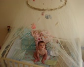 Peach Fairies Canopy, Baby bed Canopy,, Crib Canopy, Mosquito Net Canopy, Baby Mobile, Waldorf Fairies, Peach, Customized Upon Request.
