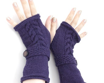 Hand knitted dark purple fingerless gloves, wrist warmers, arm warmers, fingerless mittens with a strap