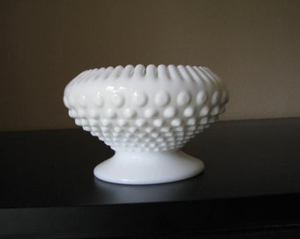 Vintage Fenton Milk Glass Hobnail Bowl