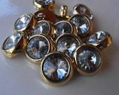 """10 Gold Thin Headlight Shank Buttons Size 11/16"""""""