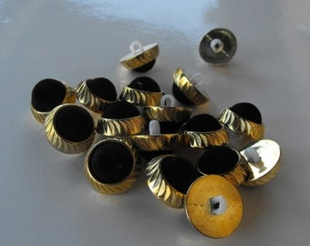 22 Gold with Black Velvet Shank Buttons Size 11/16""