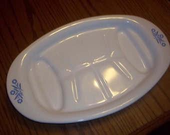 Vintage Pyrex Corning Ware Blue Cornflower Platter in GREAT Condition!