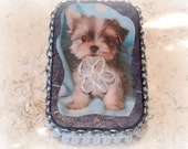 Puppy Altered Altoid Tin box, Credit Card Case, Business Card Case, Cigarette Case, Memory Box, Keepsake Box, Trinket Box, Mixed Media, Blue