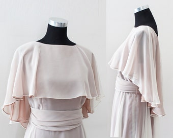 Vintage Wedding Dress, Evening gown,  Sheer overlay, Bridesmaid Dress, Vintage Wedding Bride