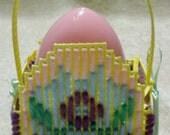 Yellow Plastic Canvas Egg Easter Basket