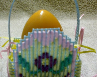 Blue Plastic Canvas Egg Easter Basket