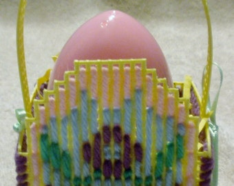 Yellow Plastic Canvas Egg Easter Basket