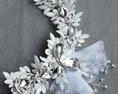 SALE Bridal HeadpieceHeadband Side Tiara Rhinestone and Pearl Hair Comb Accessory Wedding Jewelry Crystal Flower Ribbon Lace CM065LX