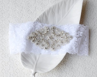 Wedding Garter Bridal Garter Set White Lace Garter Belt Rhinestone Crystal Garter Belt GR084LX