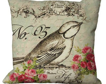 Bird & Blossoms No. 5  in Choice of 14x14 16x16 18x18 20x20 22x22 24x24 26x26 inch Pillow Cover
