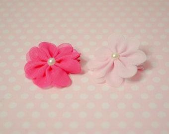 set of 2, HAIR CLIP, flower clip, hair bow, Pink Flower Clips Set of 2, pigtail clip, Photography Prop Set - Add to hats, headbands etc.