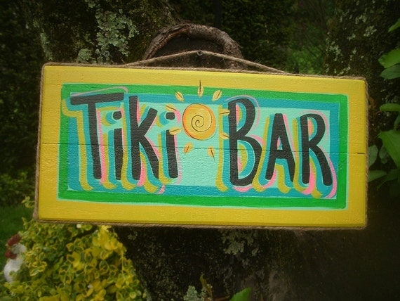 TIKI BAR - Tropical Beach House Pool Patio Hut Bar Handmade Wood Sign Plaque