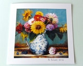 Blank Card Sunflowers Zinnias One Of A Kind Handmade