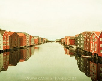 Travel photography, Scandinavian art, Trondheim on a rainy day, river channel, old wooden houses, 6x10 photo