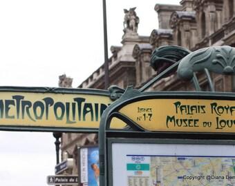 Metro Stop Paris France  8x10  Fine Art Print Photography -Metro Sign, Louvre, street sign