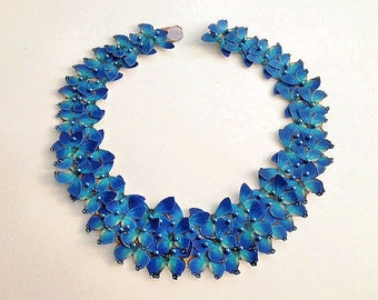 Bib Statement Necklace in Blue Floral
