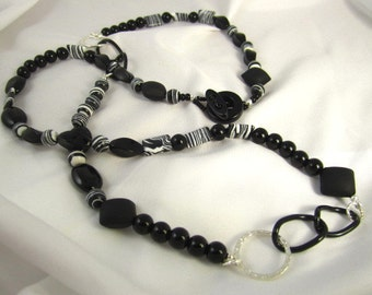 Clearance Sale! Long Black and White Onyx Necklace  Earring Set multi wear swirl black white bead