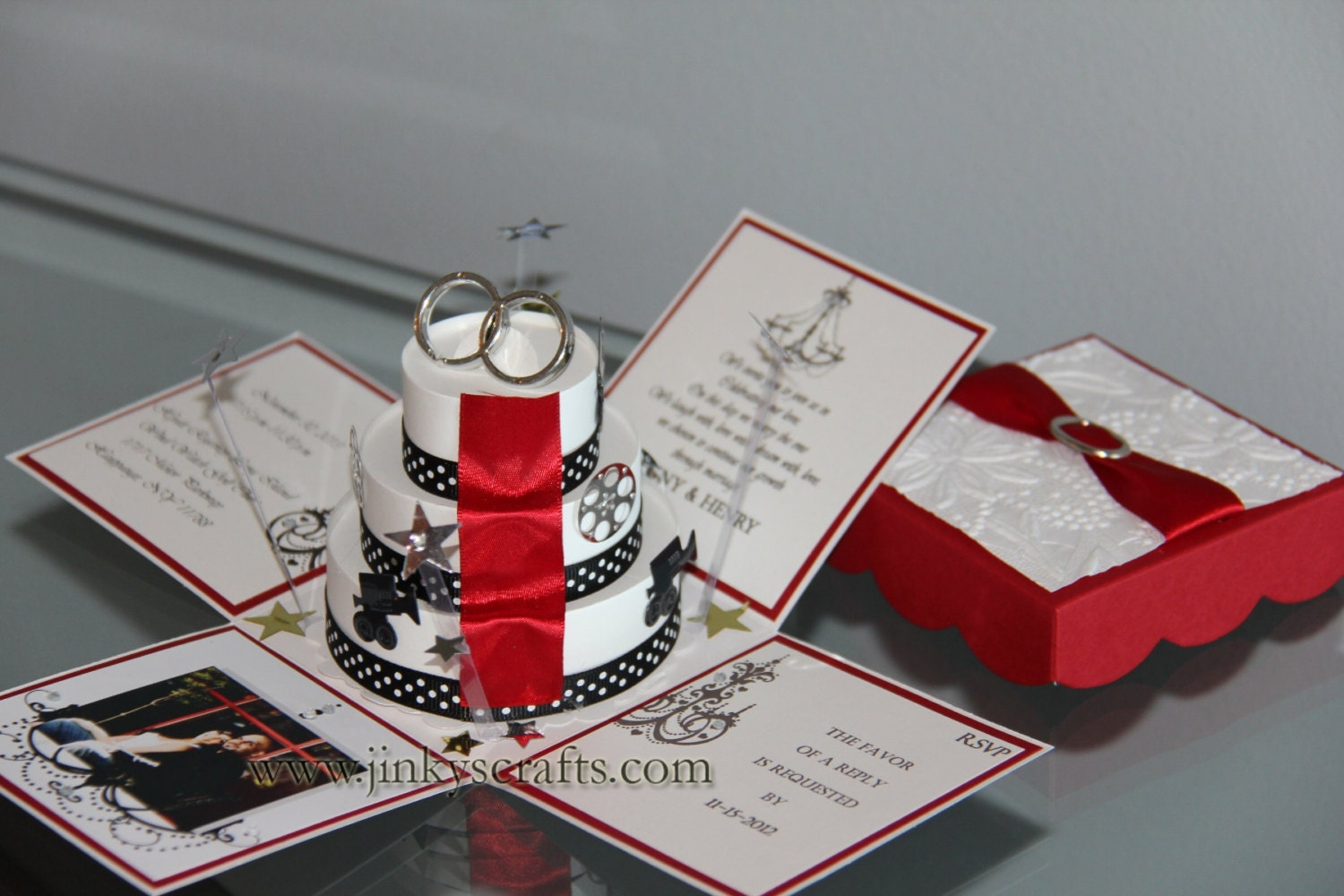 Wedding Invitation In A Box: Hollywood Inspired Exploding Box Wedding By Jinkyscrafts