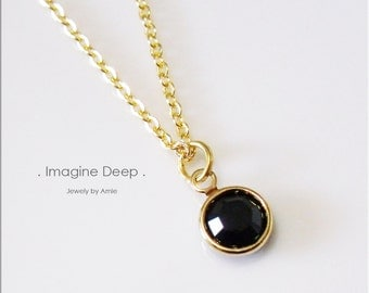 50% off SPECIAL - Black Pendant Necklace - 17 inch Gold Plated Black Onyx/Obsidian-Like Swarovski Crystal Necklace