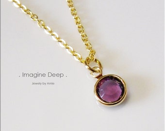 50% off SPECIAL - Purple Plum Pendant Necklace - 17 inch Gold Plated Purple Amethyst Like Swarovski Crystal