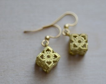 Geometric Earrings Filigree Cube Simple Dangle Modern Minimalist Gold Plated Drop Charm Architectural