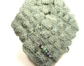 Soft Juniper Green Knitted Scarf with Handmade Lampwork Glass Bead Pin