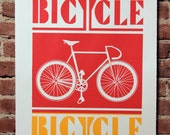 Bicycle Print Red and Yellow