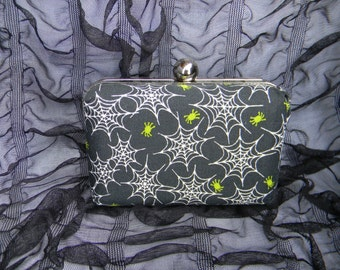 Lime Green Spider Web Fabric Covered Hardshell Goth Gothic Clutch Minaudière