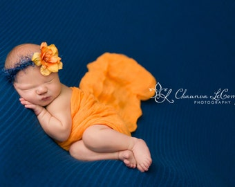 Orange Wrap Set, Newborn Wrap Set, Yellow Wrap Set, Newborn Girl Photo Props, Baby Girl Prop, Baby Wrap, Orange Cheesecloth, Newborn Tieback