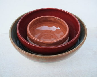 Ceramic Nesting Bowls, Set of Pottery Serving Bowls, Handmade Pottery Serving Bowls