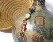 Copper Necklace with African Trade Beads Czech GLass and Painted Sono Wood