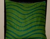 "16"" x 16"" Marimekko Dark Green with Waves Contemporary Cushion Cover"