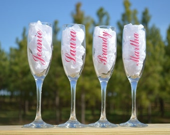 Set of 6 Personalized Bridesmaid Champagne Toasting Wedding Wineglass Flute - Wedding Gift - Name Only