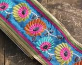 """Summer Garden: Sequins, Floral Trim / Sari Border / India, 5 1/2"""" x 1 yard / Nautical Blue, Fresh Boho Summer Fashion, Decor Supplies"""