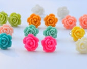Small Rose Stud Earrings.  Rose Studs.  Turquoise Studs.  Pink Studs. Yellow Studs. Rose Earrings. Choose Color.