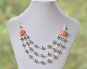 Bridesmaid Jewelry Coral Orange Triple Strand Grey Pearl Necklace.  Fashion Statement Necklace.  Wedding Jewelry. Bridal Necklace.